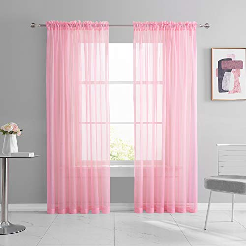 KEQIAOSUOCAI 2 Pieces Pink Sheer Curtains 84 Inch Length for Girls Kid Room Nursery Bed Canopy Rod Pocket Sheer Voile Curtain Panels for Wedding Party Backdrop Bedroom Living Room 52Wx84L