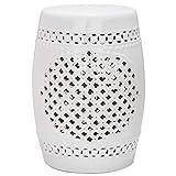 Safavieh Moroccan Quatrefoil Ceramic Decorative Garden Stool, White...