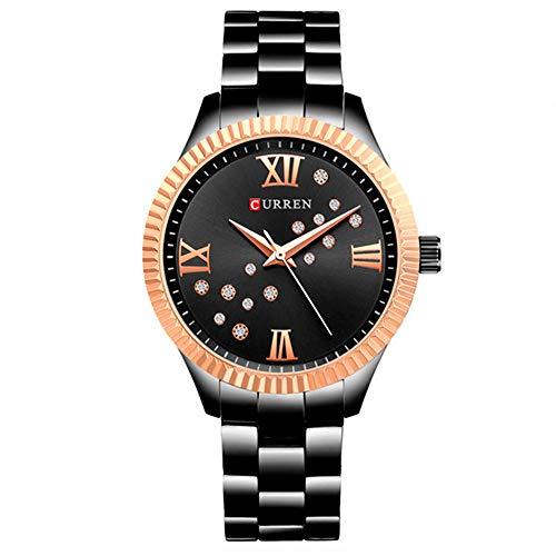 CURREN Reloj para Mujer, Dama, Pulsera Análogo Brillante con Extensible de Metal (Negro)