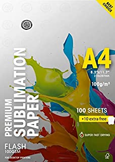 """Mundi Sublimation Paper Flash 100gsm AAA (A4-8,3"""" x 11,7"""") Super Fast Drying 10 Extra Free"""