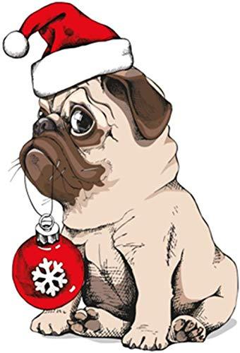 JCILZX schilderen op nummer-kits DIY canvasverf voor volwassenen kinderen beginners - Bulldog met een kerstmuts tekening met kwasten kerstdecoratie decoraties geschenken 16x20 inch (geen lijst)