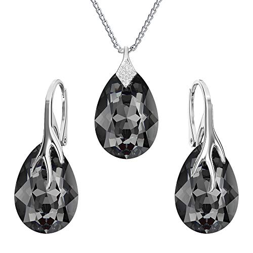 Panda-Jewellery Mujer plata de ley 925 plata talla pera Crystal