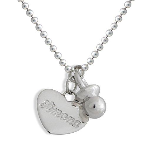 Halsketting met fopspeen en hart met de naam van sterling zilver 925/1000. Cadeau voor moeder in zoete wachttijd Flores Gioielli Grammi 15