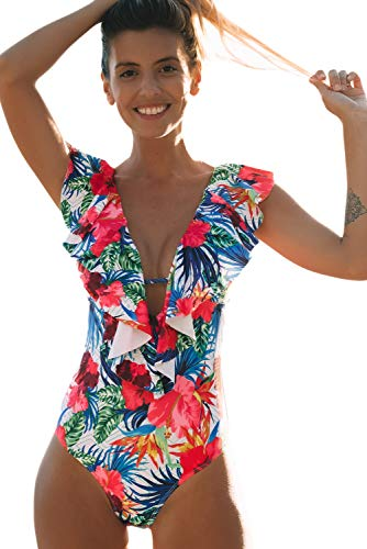 Sporlike Women One Piece Swimsuit V-Neck Ruffle Bathing Suit Monokini(Floral/White,XL)