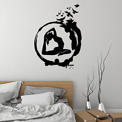 WERWN Yoga Mujer Pared calcomanía Ensor círculo meditación niña Dormitorio decoración del hogar Vinilo Pared Pegatina Yoga Estudio Gimnasio Arte Mural