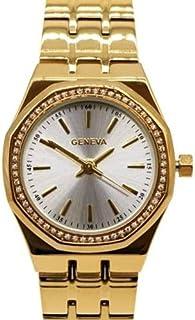 ساعة يد نسائية فاخرة بإطار زركون, تصميم أنيق من ماركة جنيفا الأصلية, لون ذهبي Gold, أنالوج, ضد الماء