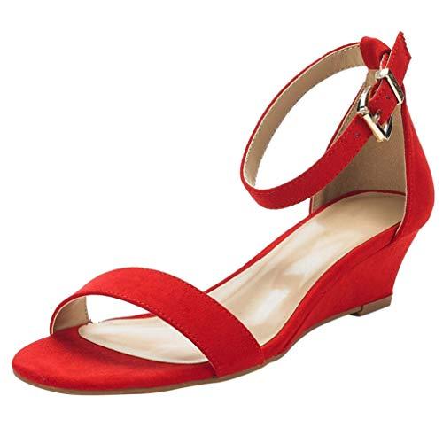Sandali per Le Donne Moda Solido Fibbia Cinturino alla Caviglia Scarpe con Zeppa Casual Punta Aperta Semplice Tacchi Alti Tacchi da Lavoro in Ufficio Pompe Estive da Lavoro