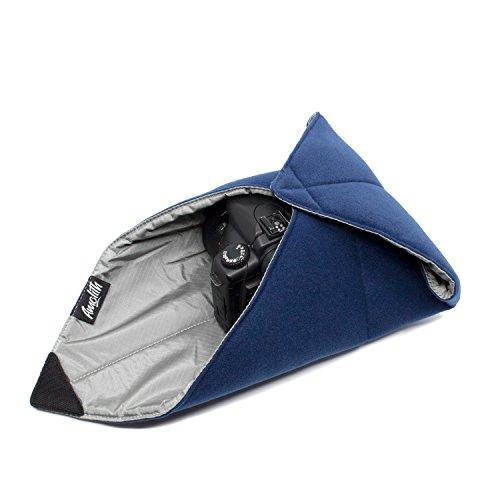 Amolith® Einschlagtuch (Gepolsterte Schutzhülle) als Schutz für kleine bis mittlegroße DSLR-Kamera, spiegellose Systemkamera, Objektiv oder Tablet-PC – Dunkelblau (40 x 40 cm) | AML-8520