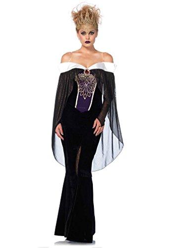 Karneval-Klamotten Böse Königin Kostüm Damen Schneewittchen Stiefmutter Märchen-Kostüm mit Krone Karneval Damen-Kostüm