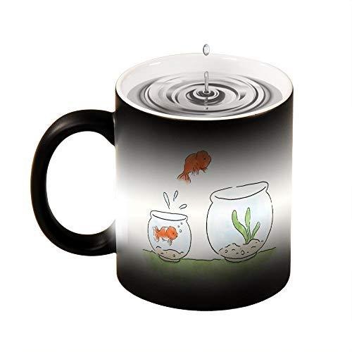 Magic Mug wärmeempfindliche Tasse mit Goldfisch springt in eine größere Schale, lustiger Farbwechsel, Kaffeetasse, 325 ml