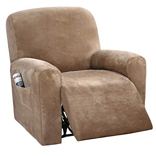 BellaHills Samt Sofa Schonbezüge Spandex Plüsch Möbelbezug Deluxe Lounge Bezug, Stretch Sofa Protector für Hunde High Stretch Möbel Protector Cover für Liege, Gepäck