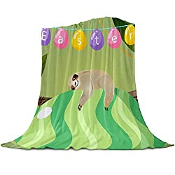 Easter Sloth Eggs Soft Fleece Throw Blanket for Couch