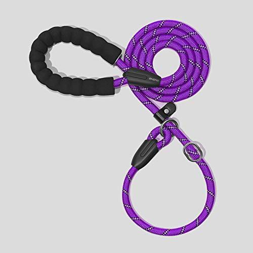 iYoShop Hundeleine mit komfortablem gepolstertem Griff und stark reflektierenden Fäden, hochwertige Hundeleine für kleine, mittelgroße und große Hunde, 1,8 m, violett