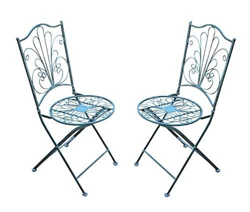 Spetebo metalen klapstoel in vintage grijs - set van 2 - tuinstoel bistrostoel balkonstoel