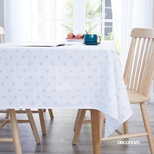 Deconovo Tischdecke Lotuseffekt Abwaschbare Tischtuch Punkte Drucken Wasserabweisend Tischtücher 130x160 cm Weiß