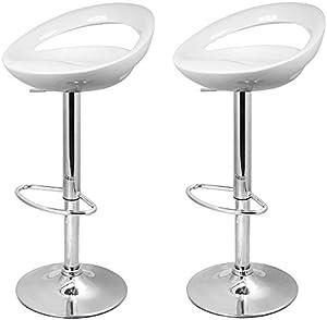 La Silla Española - Pack de dos taburetes con asiento redondo en color blanco, en PVC, regulable en altura. 47x44x97 cm, 2 unidades