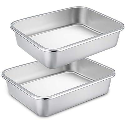 TeamFar Lasagna Pan, 2 PCS Brownie Pan Rectangular Cake Pan Deep Lasagna Pan Stainless Steel for Baking Roasting, 12.75''×10''×3.2'', Deep Dish & Heavy Duty, Sturdy & Dishwasher Safe