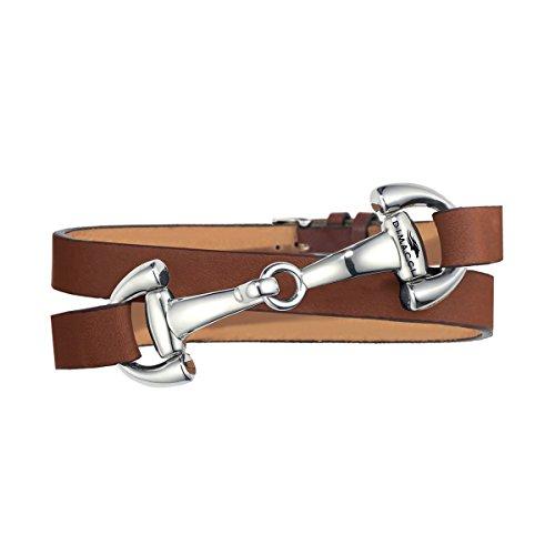 DIMACCI Trensen-Armband Kalbsleder | Favorit Kollektion in Cognac Silber-Optik aus Edelstahl | Schmuck für Reiter-Frauen in Geschenk-Box