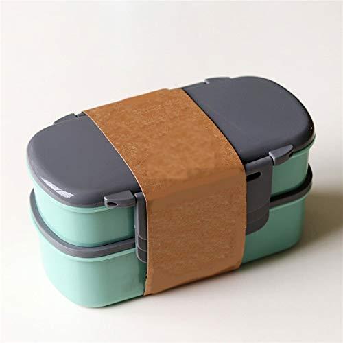 Heigmz Fh Bento Box - Fiambrera para microondas de doble capa de 800 ml con caja de hielo líquida para congelar, contenedor de alimentos con tenedor y cuchara (color verde)
