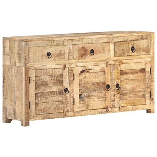 vidaXL Mangoholz Massiv Sideboard mit 3 Türen 3 Schubladen Kommode Anrichte Schrank Mehrzweckschrank Beistellschrank Standschrank 120x30x65cm