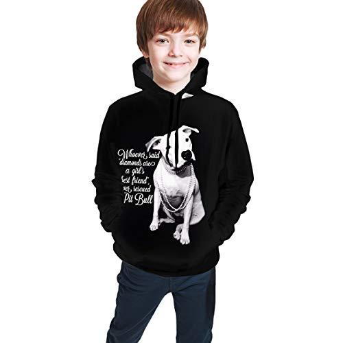 DMWY Sweatshirt mit Kapuze, Motiv: Pitbull und Mädchen Gr. S, Schwarz