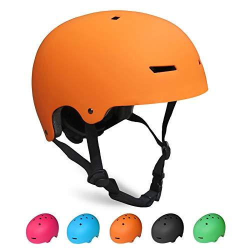 KORIMEFA Kinder Skateboard Helm Kind Fahrrad Schutzhelm 3-13 Jahre alt Jungen und Mädchen Kinder Verstellbarer Helm BMX Reiten Roller Inline Skating (Orange, S)