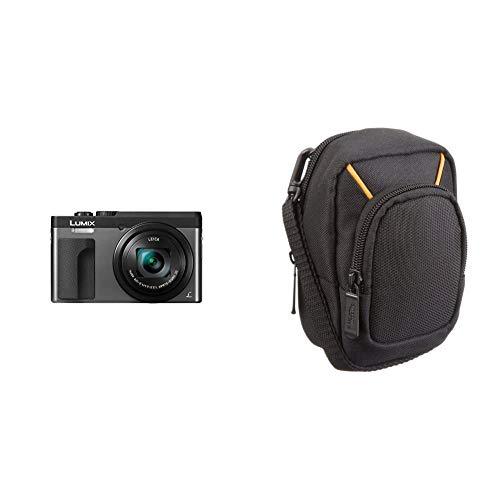 Panasonic LUMIX TZ91 High-End Reisezoom Kamera (Leica Objektiv, 30x Opt. Zoom, 24 mm Weitwinkel, Sucher, 4K) Silber und Amazon Basics Kameratasche für Kompaktkameras, groß