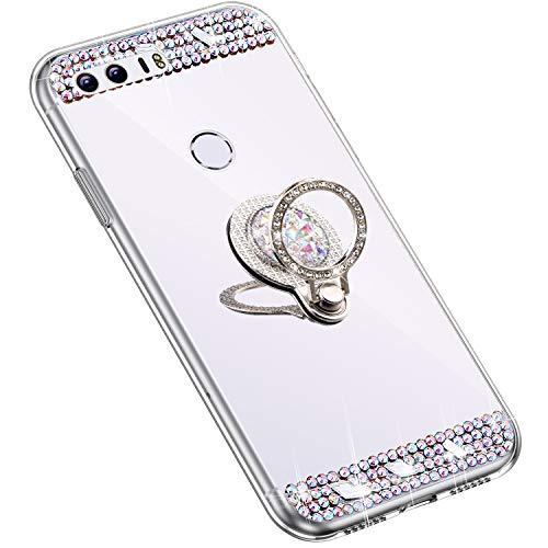 Uposao Kompatibel mit Huawei Honor 8 Hülle mit 360 Grad Ring Ständer Glänzend Glitzer Strass Diamant Transparent TPU Silikon Handyhülle Ultra Dünn Durchsichtig Schutzhülle Case,Silber