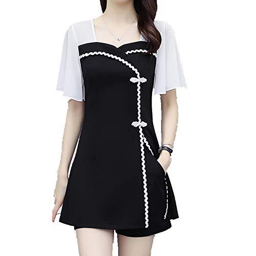 Tamaño grande de las mujeres de verano de la grasa vestido traje mostrar delgada cubierta del vientre pantalones cortos conjunto de dos piezas
