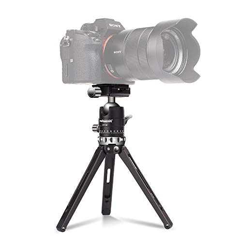 Pergear MT-02 Mini Tripod with 360° Fluid Rotation Tripod Ball Head, 15kg 33Lbs Payload, CNC Aluminum Alloy, Comes with 3 Fixing Straps for Multi-Angle Shooting, Additional 1/4 inch Screw Holes