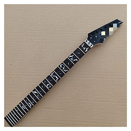 GaYouny Cuello de Guitarra 24 Mascotas Maple Electric Guitar Cuello Reemplazo De Rosewood Fingerboard Vine Inlay Bloqueo Tuerca