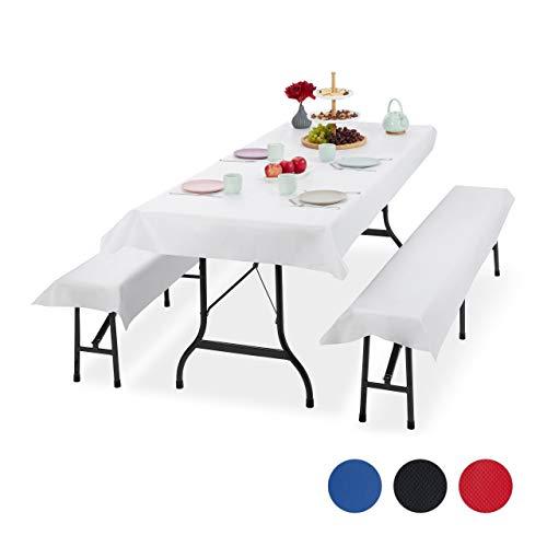 Relaxdays Bierzeltgarnitur Auflage, 3er Set, Biertisch Tischdecke 250x100cm, 2 Bierbankauflagen, abwaschbar, weiß