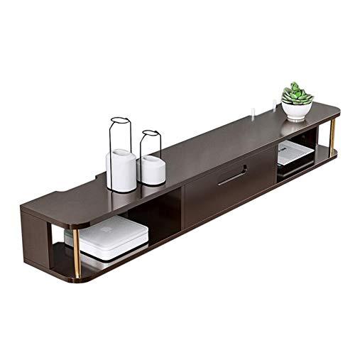 JCNFA planken TV Set-top Box, aan de muur gemonteerd, massief hout TV kabinet, ronde staaf metalen muur hangen, gemonteerd op de muur, woonkamer TV kast set, 2 kleuren 47.24*8.46*6.29in Donker Hout