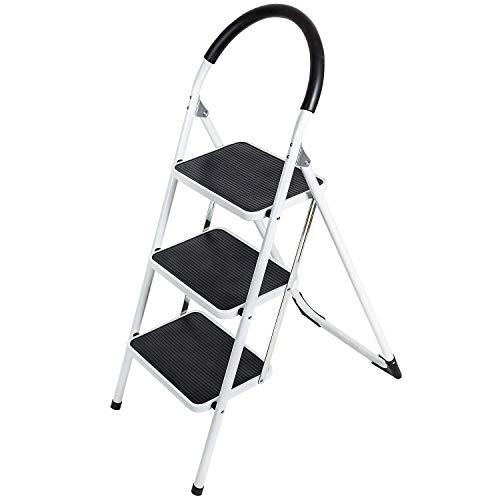 WonderWorker Bold Escalera Plegable de 3 escalones, Antideslizantes, Acero con Recubrimiento en Polvo, admite hasta 150 kg