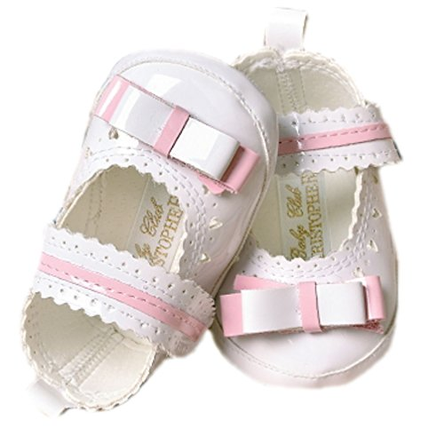 Babyschuhe Ballerinas Taufschuhe Lackschuhe weiß rosa Lack Herz Muster mit Schleife Mod. 5737 (19=12 cm)