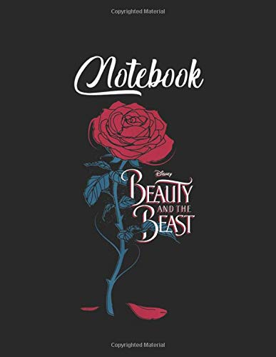 NoteBook: Disney Beauty The Beast Wilting Rose Logo Graphic Blank Vinetage Floral Notebook Marble Large Size 8.5in x 11in for Student Teacher Friend with 110 Page