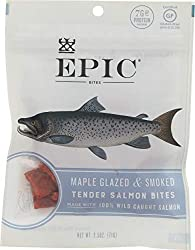 Epic Jerky Bites, 100% Wild Caught, Maple Glazed & Smoked, Alaskan Salmon, Coconut Oil 2.5 oz. Pouch