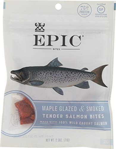 Epic Jerky Bites, 100% Wild Caught, Maple Glazed & Smoked, Alaskan Salmon, Coconut Oil 2.5 oz. Pouch