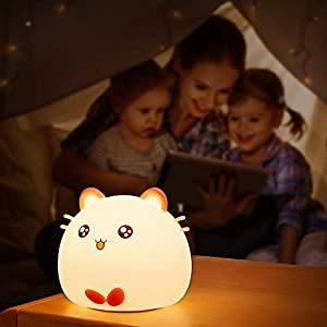 Cute Kitty Night Light,Valentine Gifts For Kids,Squishy Cat Nightlight For Toddlers,Baby,Teen Girl,Color Changing Animal Silicone Lights,Portable And Rechargeable Light Up Lamp,Kawaii Room Decor Stuff
