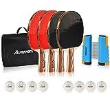 Allprosportz Ping Pong Paddle Set of 4 - Premium Table Tennis Racket Bundle...