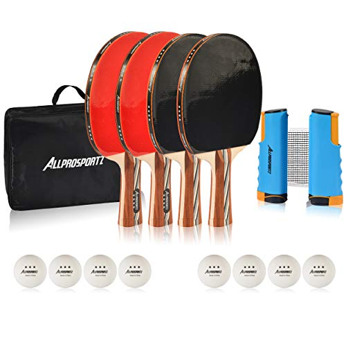 Learn More About Allprosportz Ping Pong Paddle - Complete ping Pong Paddles Set of 4 - Including 4 T...