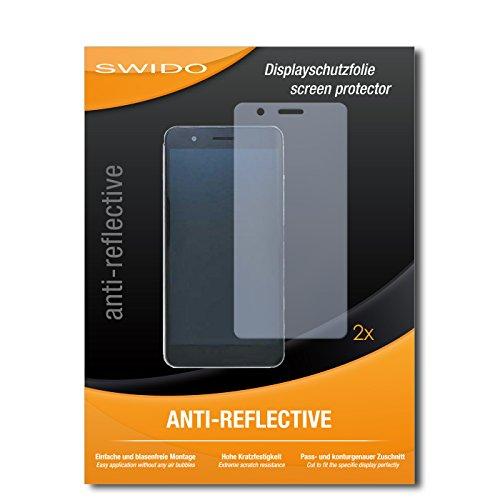SWIDO Schutzfolie für Huawei Honor 6X [2 Stück] Anti-Reflex MATT Entspiegelnd, Hoher Härtegrad, Schutz vor Kratzer/Displayschutz, Displayschutzfolie, Panzerglas-Folie