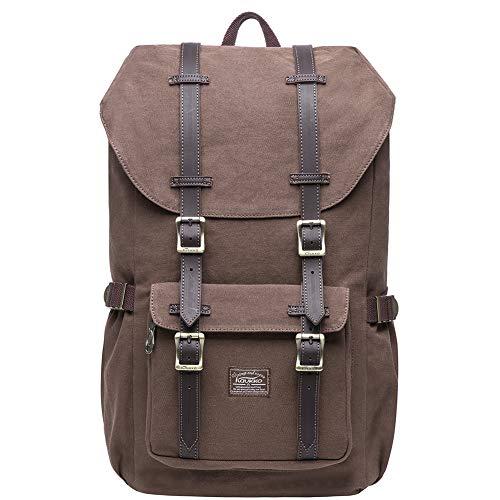 KAUKKO Zaino in nylon per Computer Portatile da 15', Casual retrò Viaggi Trekking Backpack (C caffè)