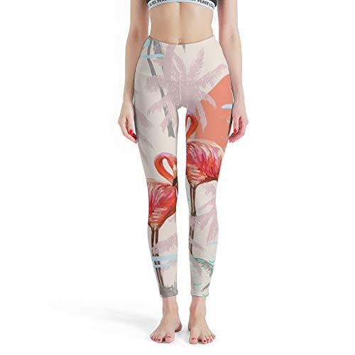 YxueSond Legging para mujer con impresión digital de flamencos extra largos para yoga Blanco blanco XS
