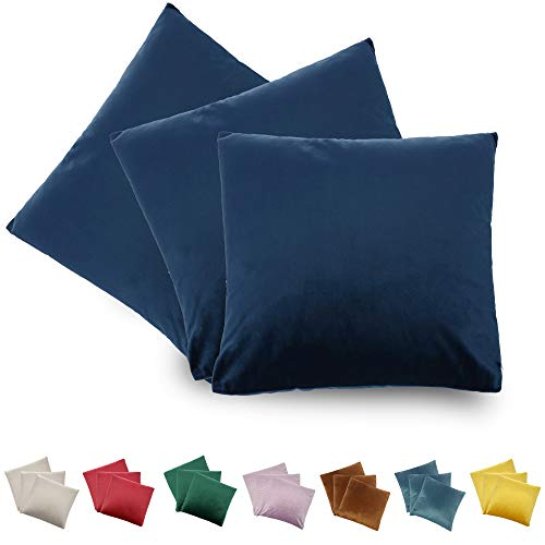 CALIYO - Funda de cojín de Terciopelo, Universal, 2 o 3 Fundas de Almohada para Cojines Decorativos, Cojines de sofá, Cojines de sofá, 45 x 45 cm, Muchos Colores, Azul Oscuro-2, 40 x 40 cm