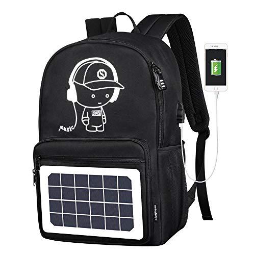 Womdee - Mochila para portátil con energía solar