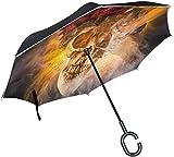 Abstrakter Firey Schädel-umgekehrter Regenschirm-doppelte Schicht-Rückseiten-Regenschirm wasserdicht Winddicht für Auto-Reise im Freien