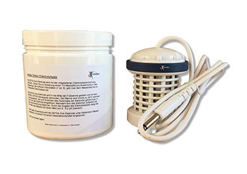 Zinkspule, Zink Elektrode aus Zink für Fußelektrolysebäder mit 6,3mm Klinkenstecker, inkl. 560 g Elektrolysesalz