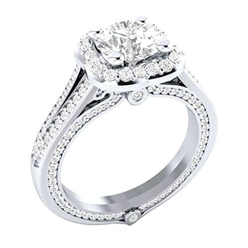 Goddesslili Diamond Rings for Women Ladies Girlfriend, Full Colorful Diamond Microinlaid Zircon Jewelry Vintage Retro Wedding Engagement Anniversary Luxury Gift