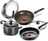 TYUIOYHZX Conjunto de utensilios de cocina de cocina, utensilios de cocina de cocina Woks & Stir-Fry Step Pots and Pans Set, Base de inducción 3 pieza con recubrimiento de utensilios de cocina nonstic
